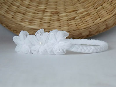 White baby soft headband for christening baptism flower girl, handmade