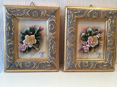 """Pair Of Capodimonte Signed Porcelain Pictures 6x8"""""""