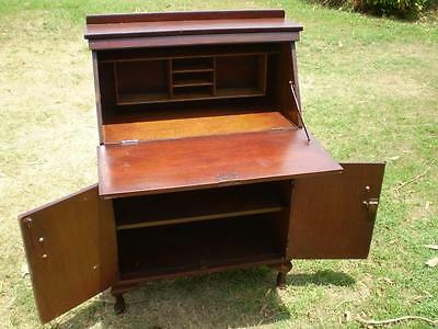vintage artdeco style timber Writing Bureau Cabinet fold down front student desk