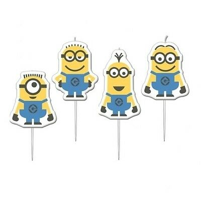 4 Despicable Me Minions Pick Cake Candles Childrens Themed Birthday Party