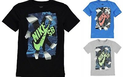 New 2019 rip type Boys Junior Nike T Shirt Crew Neck Casual Top Size Age -7-13