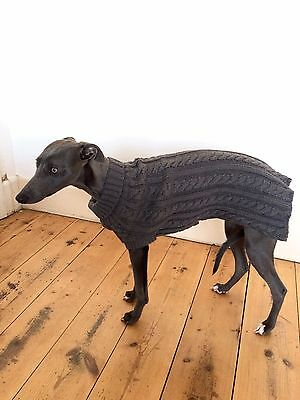 Cable Knit Dog Jumper Grey Size M Whippet,Lurcher,Italian Greyhound other breeds