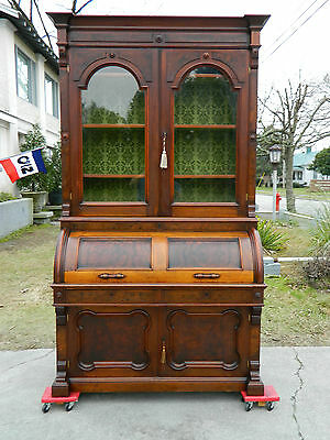 Stunning Walnut Victorian Cylinder Roll Secretary Desk with Bookcase Top c1865