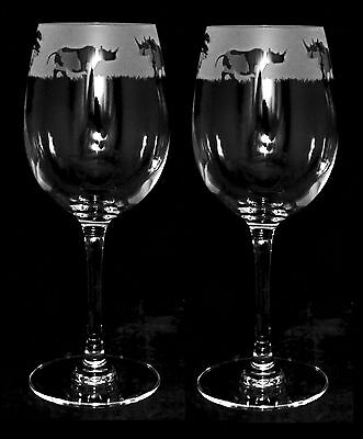 *RHINO GIFT* Boxed PAIR 35cl CRYSTAL WINE GLASS with RHINOCEROS Frieze