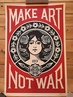 Shepard Fairey Make Art Not War Obey Giant signed