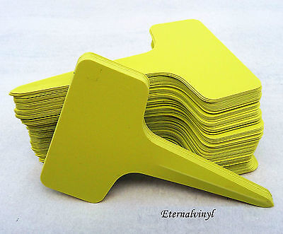 6cm x 10cm T Type Plastic Seed / Plant Labels : Yellow / Mustard