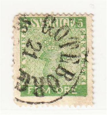 SWEDEN : 1858 5 Ore Used (2 Scans)