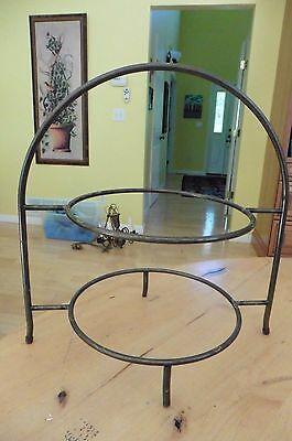 """Wrought iron Double Plate holder 2 dish display dessert tower pie stand 13"""" tall"""