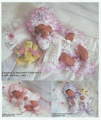 "Hand Knitted Lace Trim Matinee Sets for 14"" - 15"" Reborn Baby Girl / Early Baby"