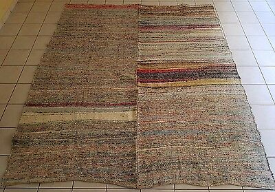 Vintage Handwoven Muted Color Square Cotton Turkish Kilim Rag Rug 9.3X10.4 ft