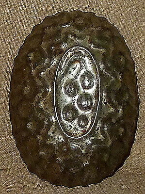 PRIMITIVE ANTIQUE~AGE-DARKENED TIN FOOD or ASPIC MOLD w/ BERRIES~HARD TO FIND!