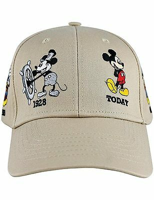 Disney Embroidered Mickey Mouse Through The Years Adjustable Khaki mens hat Cap