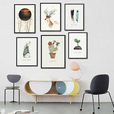 Nordic Art Cactus Deer Feather Art Canvas Poster Painting Picture for Wall 280