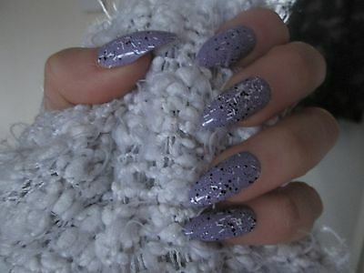 12 Full Cover purple Stiletto Hand Painted False Nails size Small