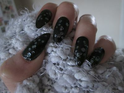 12 Full Cover black Stiletto Hand Painted False Nails size Small