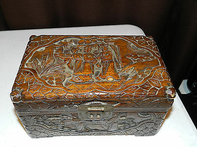 Vintage Hand Carved Wood Jewelry Trinket Box Asian Couple Wedding Courtship