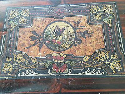 dark wood with Decorative lid  Writing Slope -3 compartments -no key