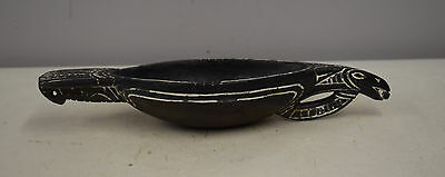 Papua New Guinea Siassi Carved Wood Ceremonial Blackened Wood Incised Bird Bowl
