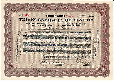 1920 Triangle Film Corp Stock Certifiicate Early Hollywood Silent Films