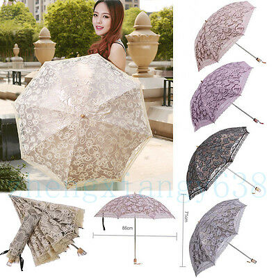 New Lace Princess Parasol Sun Rain Snow Anti-UV Folding Wedding Bridal Umbrella