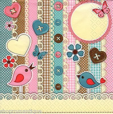 4 x Single PAPER NAPKINS Scrapbook Elements Birds Buttons DECOUPAGE CRAFTS PARTY