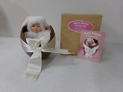 Anne Geddes Brown Eyed Baby Bunny in Easter Egg in Box with Card ~ 6""
