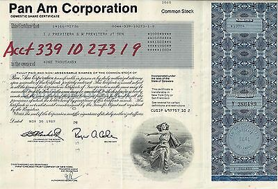 Pan Am Corporation, Domestic Share Certificate, 1989  (1.000 Shares)