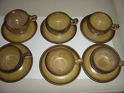 Denby Romany Cups and Saucers  of 6