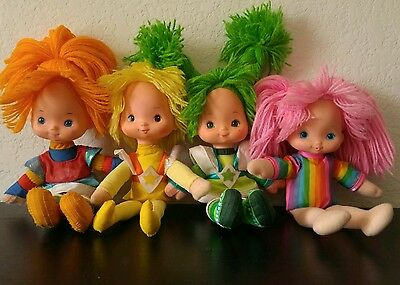 Vintage Rainbow Brite Doll Lot Green Yellow TICKLED PINK Hair 1983 Mattel 10""
