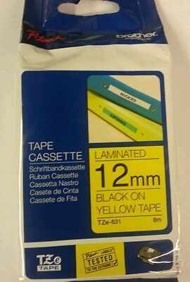 Brother TZ-631TZe-631-12mm Black on Yellow Laminated Tape P Touch Tape