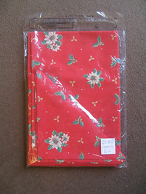 """Christmas table linen: Red with poinsettas & holly: Cloth (36""""x54"""") & 4 napkins."""