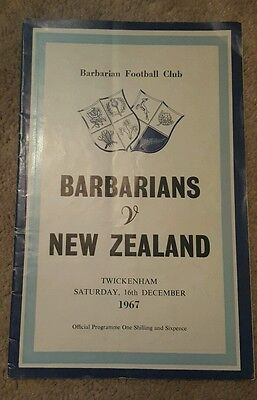 barbarians v New Zealand 1967 rugby union programme