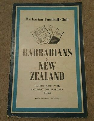 barbarians v New Zealand 1954 rugby union programme
