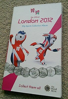 Official Olympic 50p SPORT COIN ALBUM  + 29 UNC/BU coins &medallion Royal Mint