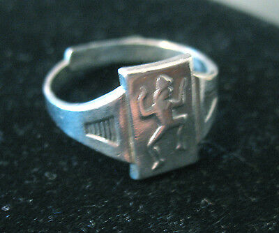 RING 1940s STERLING Silver Adjustable Brownie Girl Scout Logo Collector's GIFT