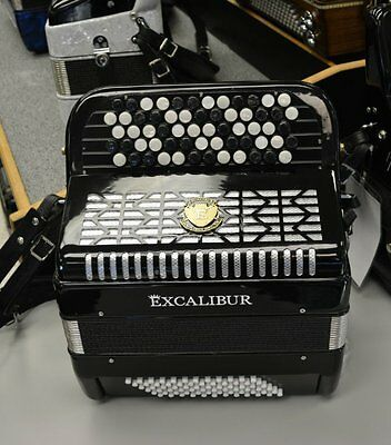 Excalibur  Leipzig Chromatic Button Accordion 72 Bass B or C System Black
