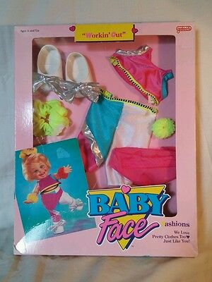 NEW Vintage Galoob Baby Face DOLL Clothes Exercise Workin' Out Workout RARE Vtg