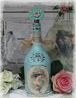 ~ Shabby ~ Victorian ~ Altered Liquor Bottle ~ Chic ~ Pearl Accents ~