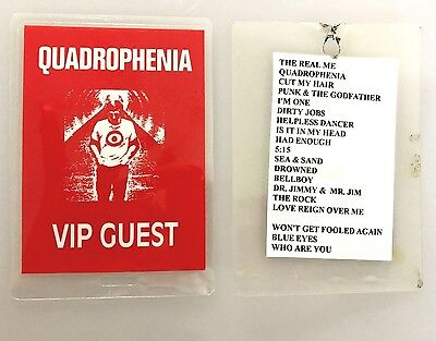 Quadrophenia The Who Backstage Vip Guest Pass Ticket Laminate Rare, w play list