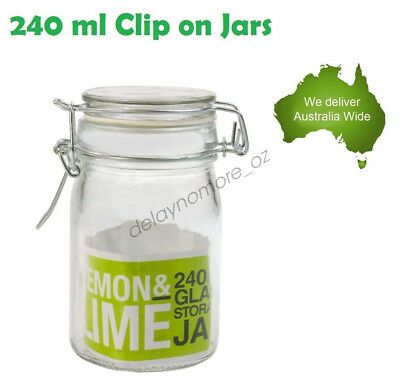36 x 240ml Spice Mini Glass Jars with Clip Lid Bottle Jam Storage Container Jar