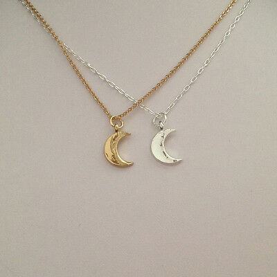 18K Gold/Silver Plated Crescent Moon Charm Pendant Necklace Chain Jewellery