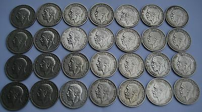 28 George V Silver Florins 1928 - 1936 High Grade. VF+ to AUNC  4 of each year.