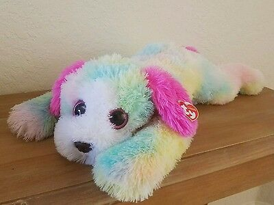 TY CLASSIC LARGE Rainbow Pastel Plush Puppy Dog 2014 Yodels ~ Justice Store