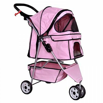 Dog Stroller Small Medium Pet Cat Pink 3 Wheel Jogger Carrier Fold Carriage Cage