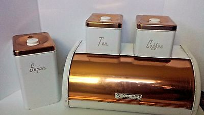 Vintage Maid Of Honor MCM 50's White Metal Copper Tin Bread Box & Canister Set