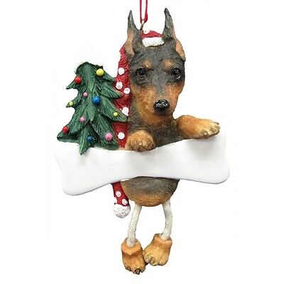 Miniature Pinscher Min Pin Dangling Wobbly Leg Dog Bone Christmas Ornament