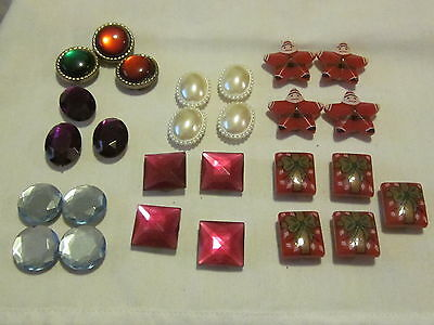Lot of 27 Button Covers-Faux Jewels, Faux Pearls & Christmas-All Goldtone Backs