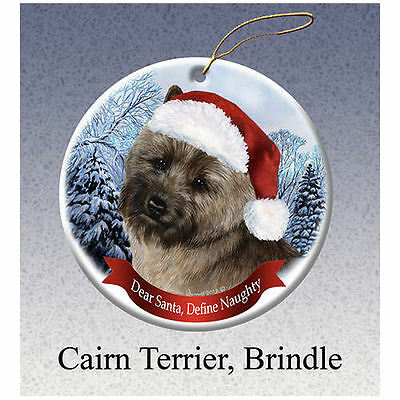 Cairn Terrier Brindle Howliday Porcelain China Dog Christmas Ornament