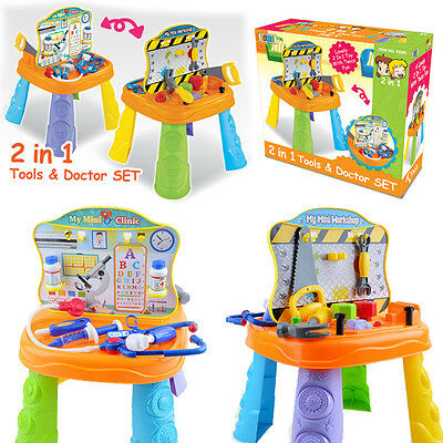 2 In 1 Colorful Workshop Bench Tools & Doctor Medical Set Kids Pretend Play Toy