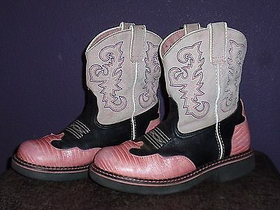 Ariat Baby Fat Western Short Cowgirl Boots Girls 3 Pink & Black Ornate Leather